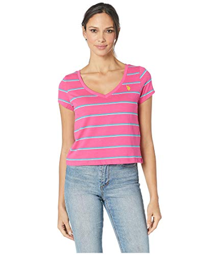 Womens V-neck Tee (U.S. Polo Assn. Women's Stripe V-Neck Crop Tee)