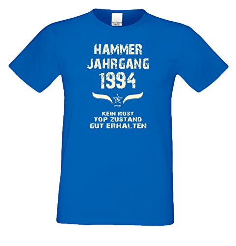 T-Shirt Herren Männer Geschenkidee zum 23. Geburtstag Motiv Hammer Jahrgang 1994 Geburtsjahr Freizeitlook Farbe: schwarz Royal-Blau