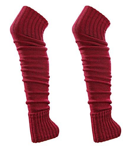 krautwear® Damen Mädchen 2 Paar Beinwärmer Stulpen Legwarmers Overknees gestrickte Strümpfe ca. 70cm Öko-Tex Standard 100 80er Jahre 1980er Jahre (2x ()