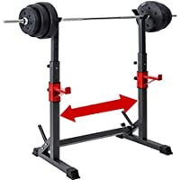 DFANCE Ajustable Barbell Rack Jaula Sentadillas Bodybuilding Banca Press Rack Pesas para Trabajo Pesado Barra Squat Rack Stands Olympic Bar Bench Home Gym Fitness Fitness Squat Stands, Negro