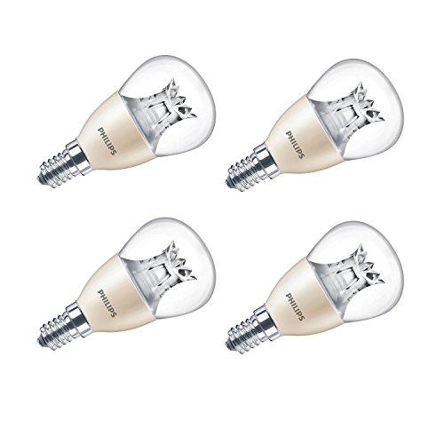 LED-Leuchtmittel E14 von Philips mit kleinem Edison-Gewinde, warmer Glanz, dimmbar, Minikugel, 6W (40W), durchsichtig, weiß, 4 Stück, E14 (Small Edison Screw) 230 volts