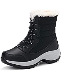 Botas Mujer Invierno Nieve Mujer Impermeable Forrado Calentar Outdoor Antideslizante Cordones Zapatos Calzado Negro Blanco Rojo Azul 35-42