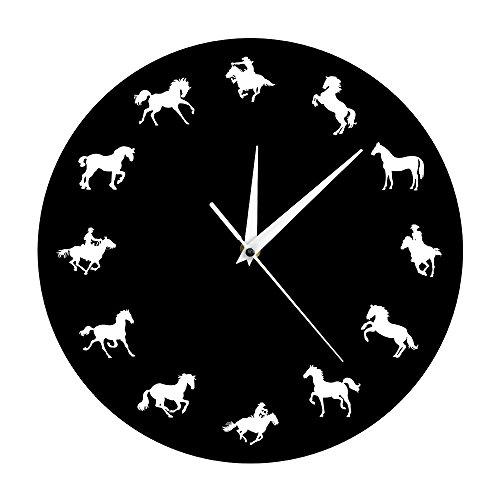 laufende Pferd Tier Wand Dekor Uhr Cowboy Reiter dekorative Wanduhr minimalistisches Design Pferd Wanduhr ()