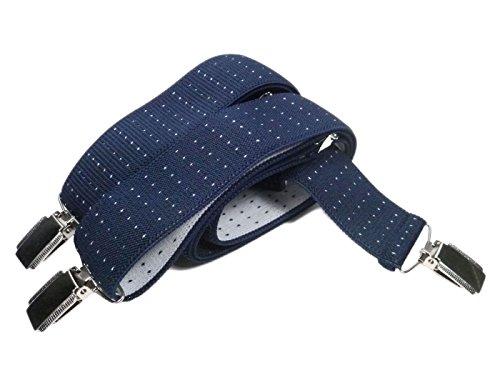 Olata formal bretelle regolabili y-forme, 3.5cm larghezza - blu scuro con puntini bianchi