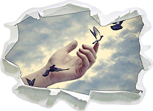 Stil.Zeit Vögel fliegen in die Freiheit, Papier 3D-Wandsticker Format: 62x45 cm Wanddekoration 3D-Wandaufkleber Wandtattoo
