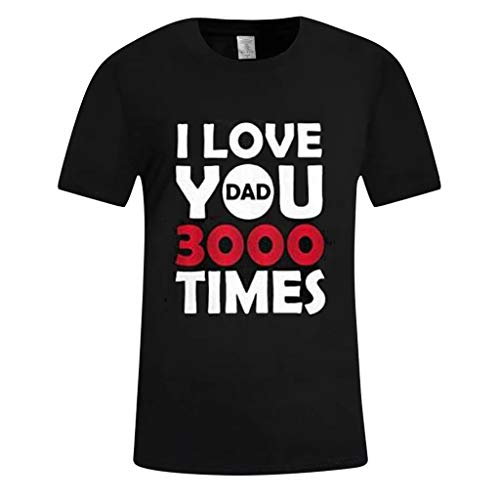 FeiBeauty Herren O-Neck Kurzarm Basic T Shirt,Casual Sommer I Love You Print 3000 Times Kurzarm Tops Schwarz-Weiss S-XXXL
