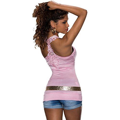 <keine Marke>                                                                          Femmes Top sexy pour femme fête d'été Mode en dentelle T-shirt Taille unique UK 6, 8, 10–34, 36, 38 Rose - Rose clair