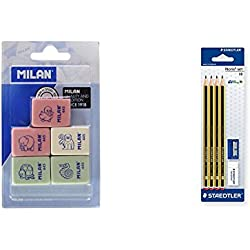 Milan BMM9222 - Pack de 5 gomas de borrar de caucho sintético flexible, modelo de figurinas surtido + STAEDTLER 120S1 BK4D - Pack de 4 lápices