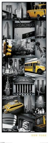 New York vista della New York-Collage-Poster da porta, 53 x 158 cm