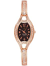 Fastrend Quartz Ladies Watch - Stainless Steel Analog Watch For Women - Oval And Rose Gold Wrist Watch