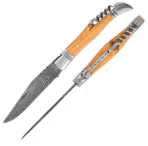 5872 Laguiole Handwerker hervorragende Damaskus Stahl & Natural Buffalo knochengriff. Camping Messer, Damaststahl Messer,Flaschenöffner Korkenzieher Laguiole, Pocket
