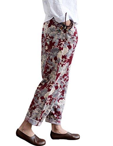 Youlee Frauen Sommer Elastische Taille Blumen Gedrückt Hosen Rot Fit EU 36-44