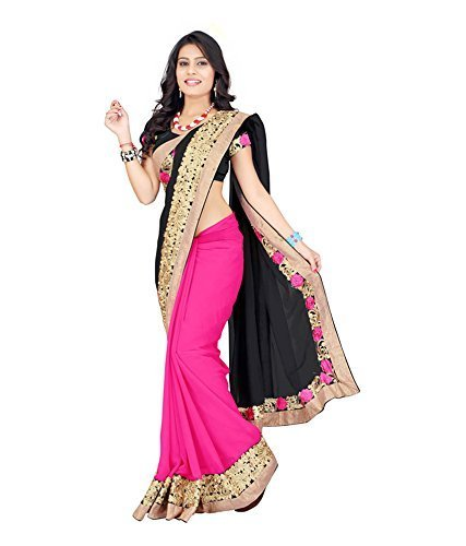 Saree (SHREE Women's New Black & Rani Pink Georgette Saree)  available at amazon for Rs.499