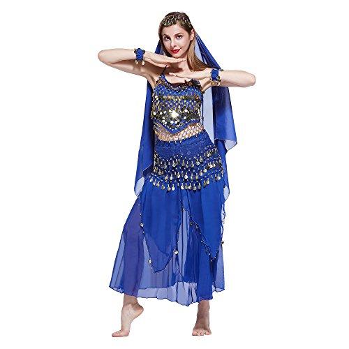 Machen Eine Kostüm Sie Bauchtanz - VENI MASEE Damen Bauchtanz Kostüm Set Sexy Kostüm Damen - Sechsteiliges Set - blau