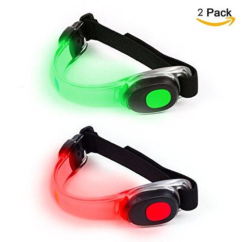 Vimmor - Brazalete elástico de alta visibilidad con luz LED intermitente para correr, correr, ciclismo, deportes al aire libre, Green+Red