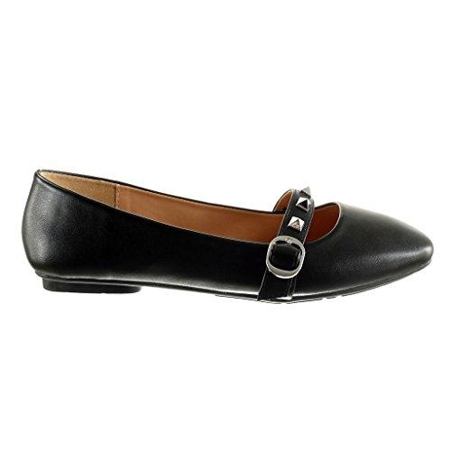 Angkorly - damen Schuhe Ballerina - Slip-On - Nieten - besetzt - String Tanga - Schleife flache Ferse 1 CM Schwarz