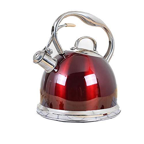 304 en acier inoxydable épaissie bouilloire sifflet ménage eau chaude gaz induction cuisinière bouilloire à gaz 3L WHLONG (Couleur : Rouge)
