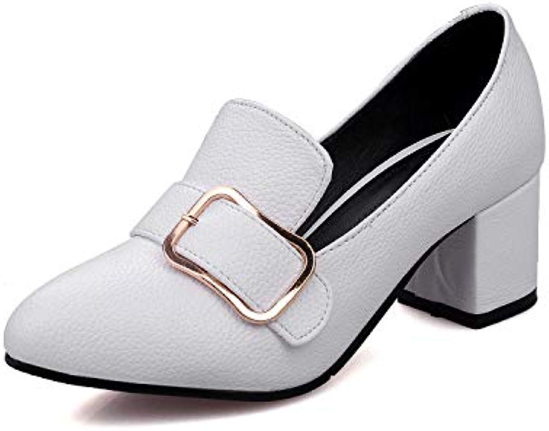 Lsm-Heels Wouomo Block Block Block Heel Pointed Toe Shallow Mouth scarpe | Una Grande Varietà Di Prodotti  6b6e90
