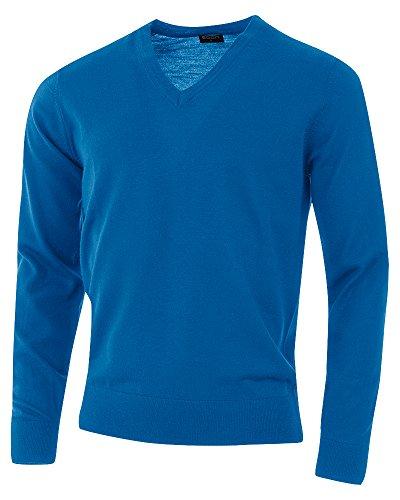 agon - Premium Herren Strick-Pullover, extrafein, 100% Merino-Wolle, V-Ausschnitt Seeblau 48/S - Herren-strick-pullover