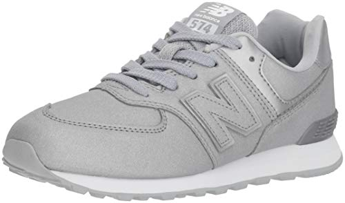 New Balance Girls' 574v1 Sneaker, Silver, 13 W US Little Kid (New Balance-13w)