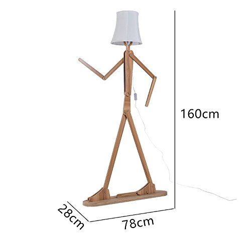 QIANGUANG� Floor Lamp Standing Light Lamps Modern Nordic Style Creative Home Wooden Original 1.6m Decoration Standing Light Variety Character Adjustable Shapes for Living Room and Bedroom (Light Brown)oom (Light Brown)