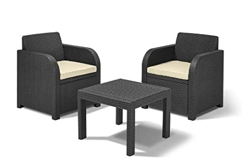 Allibert by Keter Atlanta 2 Seater Rattan Balcony Bistro Set