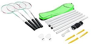 HUDORA Badminton-Set mit Netz - 4 Badminton-Schäger + 2 Kork Badminton-Bälle...
