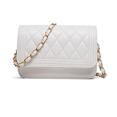 GSPStyle Damen Schultertasche Schulterkette Elegant Gitter Pattern Handtasche Stil Weiß