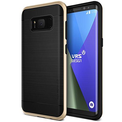 Samsung Galaxy S8 Hülle, VRS Design® Schutzhülle [Schwarz+Gold] Silikon u. PC Cover Schlagfesten Stoßstangen TPU Bumper Case Kratzfeste Schlanke Handyhülle [High Pro Shield] für Galaxy S8 2017