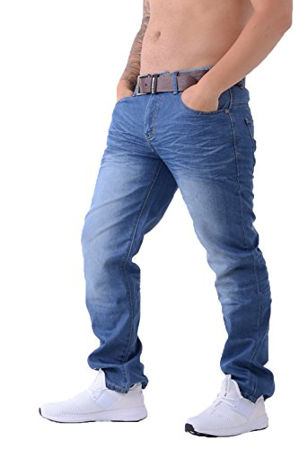 Crosshatch Herren Straight Leg Jeanshose Gr. 38W x 34L, Light wash (Fit-light Wash Jeans)