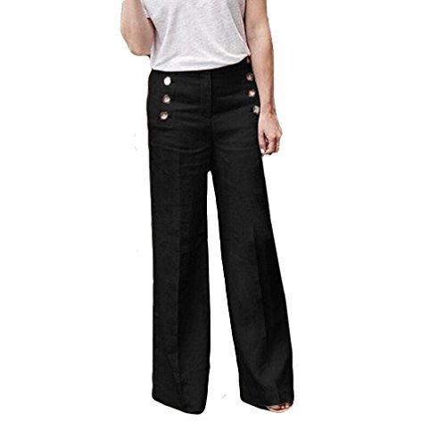Hosen Damen,Frauen High Waist Bequeme Culottes Hosen Leichte Sommerhose Elegante Stoffhose Coole Schicke Chino Hose LäSsige Lockere Hose Schwarz Blaue Graue (Schwarze,34)