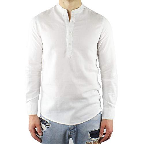 Camicia uomo coreana lino slim fit serafino bianca manica lunga estiva sartoriale casual spiaggia collo coreano m l xl xxl xxxl (m)