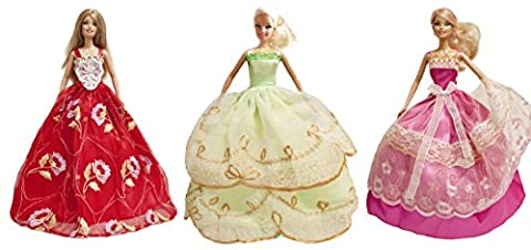 Barbie Party Gown, Evening Dress, Wedding Gown (Holiday Party 3 Dress Set) - Dolls NOT Included