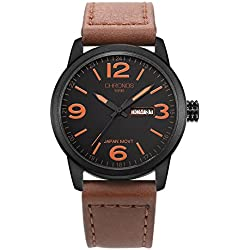 CHRONOS Men's Genuine Leather Band Analogue Quartz Wrist Watch Mens 30M Waterproof Luxury Classic Business Casual Fashion Wristwatch Resistant Dress Watches for Men
