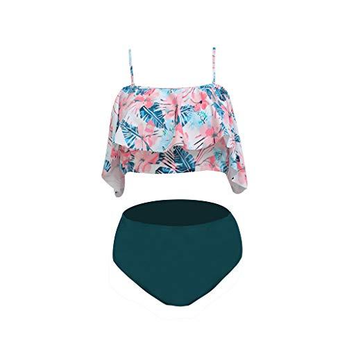 Bfmyxgs Frauen Zwei Stücke Badeanzüge Top gekräuselt mit hoch taillierten Bottom Bikini Set