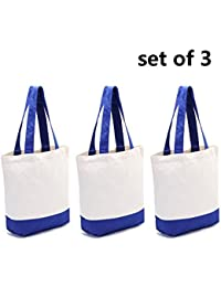 SHUYUE Reusable Cotton Canvas Tote Bags Heavy Duty Cotton Shoulder Hand Bag Grocery Shopping Bag Pack Of 3