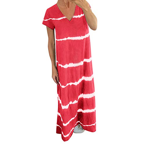 Fenverk Damen Kleid äRmellos V-Ausschnitt Kleider Lange Dress Party Club Strandkleid Lang Sommer Elegant Kurzarm Casual Lose Maxi Mit Taschen(A rot,M)