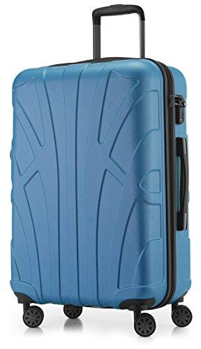 SUITLINE - Hartschalen-Koffer Koffer Trolley Rollkoffer Reisekoffer, TSA, 66 cm, 68 Liter, Cyanblau (Leichtes Gepäck-set)
