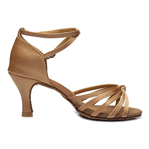 HIPPOSEUS Donne sala da ballo scarpe/scarpe da ballo/scarpe latino raso donne 7CM Beige
