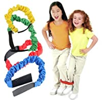 BJ-SHOP Race Bands Games Strap Band 4Pcs Elastic Tie Rope Straps Birthday Party Games for Kids 3-Legged Race Game Carnival Field Day Backyard and Relay Race Game