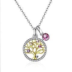 Idea Regalo - Collana Donna Albero della vita Ciondolo Argento 925 cristalli Swarovski