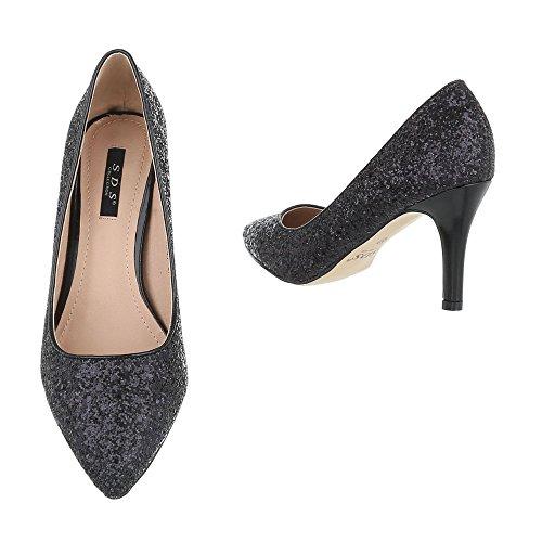 Ital-Design - Pantofole Donna Schwarz 1126-P