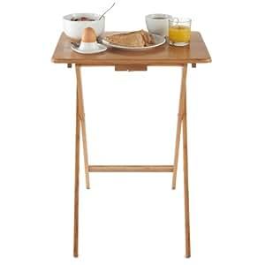 VonHaus Bureau portable table à café snack dîner télé individuel pliant en bambou naturel - 50 x 30 x 25 cm