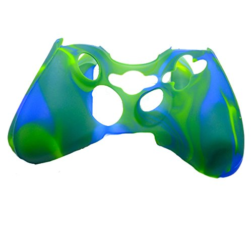 Price comparison product image AUDEW Camo Blue-Green Silicone Skin Protective Cover Shell Case Cover For Xbox 360 Controller