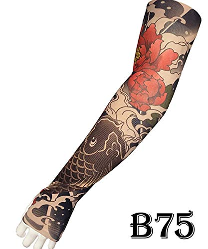 2pieces / lot Cooler Sommer Fake Tattoo Handschuhe Arm-Hülsen-Mann-Frauen-UV Sonnenschutz kühlen Radfahren Sleeves Mädchen Strümpfe, B75