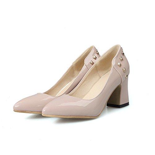 AgooLar Femme Couleur Unie Verni à Talon Correct Pointu Tire Chaussures Légeres Nu