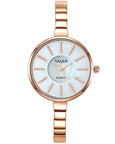 INWET Armbanduhr für Damen Mädchen,Perlmutt Zifferblatt,Rose Gold Gehäuse,Einfach und Elegant