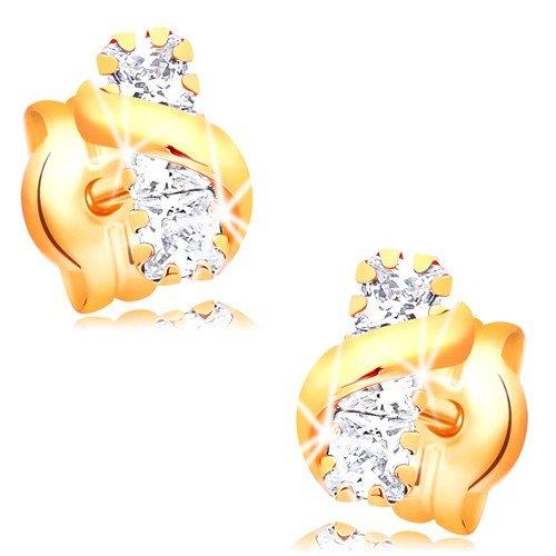 rringe aus 14K Gelbgold, 14K Gelbgold Ohrringe, 585 Gold Ohrstecker, Damen Ohrringe, Streifen mit klaren Zirkonen, glänzende Wellenlinie, Punzierung, 0.5g ()