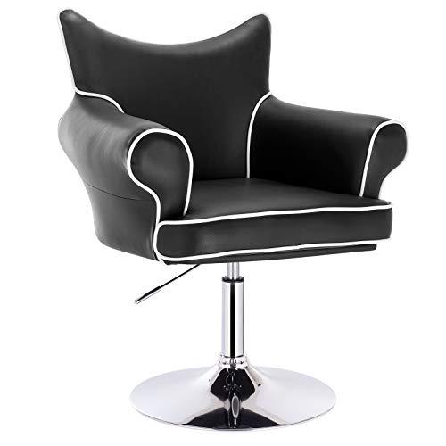 Woltu® poltroncina da bar sedia da scrivania sgabello cucina poltrona con schienale braccioli girevole regolabile moderno nera