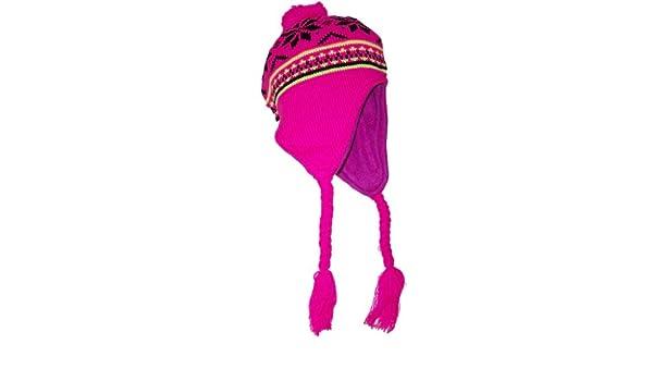 7f24f7db950 JFH Group Neon Peruvian Snowflake Winter Ear Flap Hat (One Size)-Pink   Amazon.co.uk  Clothing